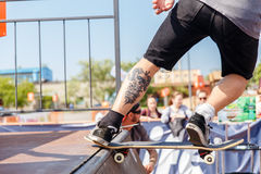 Athletes compete at Skateboard Challenge. GRODNO, BELARUS - JUN 18: Athletes compete at Skateboard Challenge 2016 in Grodno, Belarus, June 18, 2016 Stock Images