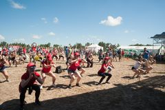 Athletes dance for warm-up before start Royalty Free Stock Photo