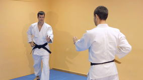 Athletes demonstrating martial arts techniques. Athletes with wooden knives demonstrating martial arts techniques stock video footage