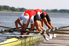 Athletes depart from the raft. Royalty Free Stock Photography
