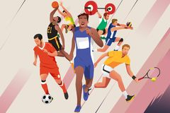 Athletes in Different Sports Poster Illustration Royalty Free Stock Photo