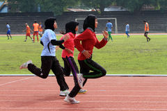 Athletes. Do exercises in a stadium in the city of Solo, Central Java, Indonesia Royalty Free Stock Image