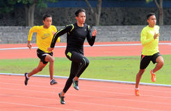 Athletes. Do exercises in a stadium in the city of Solo, Central Java, Indonesia Stock Image