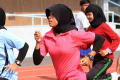 Athletes. Do exercises in a stadium in the city of Solo, Central Java, Indonesia Stock Photography