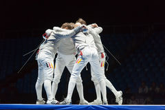 Athletes embrace in competitions on championship of world in fencing Stock Photography