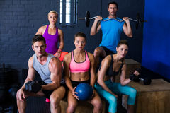 Athletes with exercise equipment Royalty Free Stock Photo