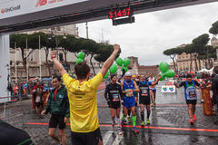 Athletes at the finish line Royalty Free Stock Images