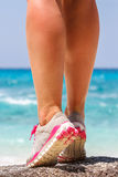 Athletes foot close-up. healthy lifestyle and sport concepts. Water, fresh air Stock Photography