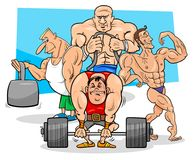 Athletes at the gym cartoon illustration Stock Photography