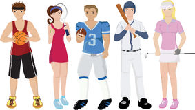 Athletes illustrations. Vector illustrations of a group of sport athletes Stock Photos