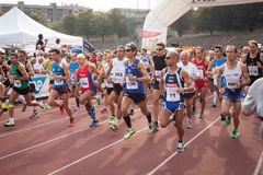 Athletes at the Innovation Running in Milan, Italy Royalty Free Stock Images