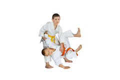 The athletes in judogi perform throws judo Stock Photography