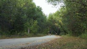 Athletes leaders of race run on road in autumn forest marathon