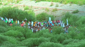 Athletes line on track after start. Tyumen. Russia stock footage