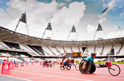 Athletes in the London olympic stadium. Athletes at the Visa London Disability Athletics Challenge at the Olympic Stadium in London on May 8, 2012. The event is Stock Photos