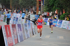 Athletes in the marathon. Half international marathon in fushui county in yunnan province in China, time: on September 25, 2013 Royalty Free Stock Photography