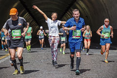 Athletes during the marathon in Rome in 2016. Royalty Free Stock Image