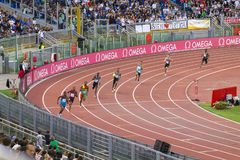 Athletes in the 400 meters race. Athletes taking part in the 400 meters race in Diamond League in Rome, Italy in 2016 stock photo