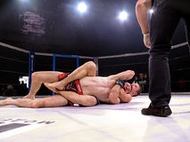 Athletes in the Octagonal ring for fights extreme Sport mixed martial arts competition tournament MMA  MAXMIX Stock Image