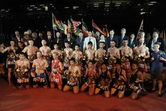 Athletes and Officials Pose for a Group Photo Stock Images