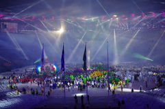 Athletes and performers at Rio2016 closing ceremonies Stock Images