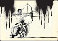 Athletes with physical disabilities - Archery. ARCHERY. From the series SILENT HEROES - Athletes with physical disabilities. An hand drawn vector Stock Photography