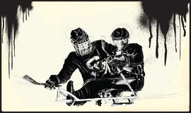Athletes with physical disabilities - ICE HOCKEY. ICE HOCKEY. From the series SILENT HEROES - Athletes with physical disabilities. An hand drawn vector Stock Images