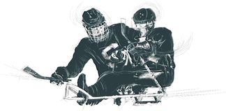 Athletes with physical disabilities - ICE HOCKEY. ICE HOCKEY. From the series SILENT HEROES - Athletes with physical disabilities. An hand drawn vector Royalty Free Stock Photography