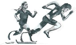 Athletes with physical disabilities - SPRINT, RUNNING. SPRINT RACING, RUNNING. From the series SILENT HEROES - Athletes with physical disabilities. An hand drawn Royalty Free Stock Photography