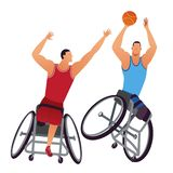 Athletes with physical disabilities. Woman Wheelchair Basketball. Two Athletes Paralympics male with physical disabilities playing male Wheelchair Basketball stock illustration