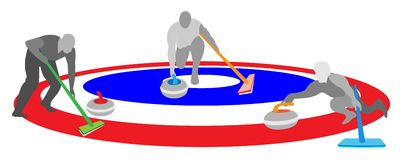 Athletes Playing Curling Sport on Ice Curling Shee Royalty Free Stock Photo