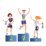 Athletes on the podium. Man and women with medals. Sport competition. Vector illustration, isolated on white. Athletes on the podium. Young man and women with Stock Image