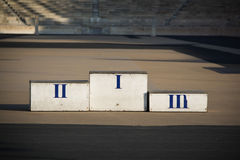 Athletes podium. View of an old podium for athletes in a stadium stock photos