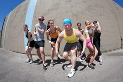 Athletes Posing. Pretty female runner poses for her me shot Stock Photo