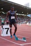 Athletes preparing for 400 m run Stock Photography