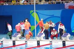 Athletes preparing for Rio2016 swimming event. Athletes preparing for Rio2016 heat 2 of swimming men's 4X100 freestyle relay. Picture taken on Aug 7, 2016 Stock Photos