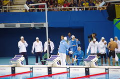 Athletes preparing for Rio2016 swimming event. Athletes preparing for Rio2016 heat 2 of swimming men's 4X100 freestyle relay. Picture taken on Aug 7, 2016 Royalty Free Stock Photo