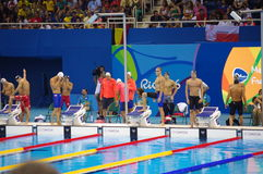 Athletes preparing for Rio2016 swimming event. Athletes preparing for Rio2016 heat 2 of swimming men's 4X100 freestyle relay. Picture taken on Aug 7, 2016 Stock Images