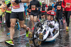 Athletes at the Rome Marathon. Rome, Italy - March 22, 2015: some athletes to twenty Rome Marathon run under a heavy rain that will accompany them throughout Stock Photography