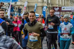LVIV, UKRAINE - 29 OCTOBER 2017: Athletes runners start running grand prix Lviv half marathon Royalty Free Stock Images