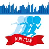 Athletes running in competition championship around the city. Vector illustration Stock Photos