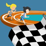Athletes running in competition championship around track. Vector illustration Royalty Free Stock Photos