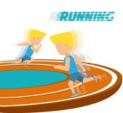 Athletes running in competition championship around track. Vector illustration Royalty Free Stock Images