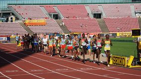 Athletes running 10 000 meteres final in the IAAF World U20 Championship in Tampere, Finland 10th July,. TAMPERE, FINLAND, July 10: Athletes running 10 000 royalty free stock images