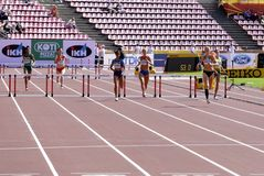 Athletes running 400 metres hurdles in the IAAF World U20 Championship in Tampere, Finland 11 July, 2018. royalty free stock images