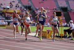 Athletes running 800 metres in the IAAF World U20 Championship in Tampere, Finland 10th July, 2018. royalty free stock photo