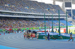 Athletes running. Women athletes running at the stadium. Picture taken during Rio2016 Olympics on Aug 16th, 2016 Royalty Free Stock Photos