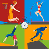 Athletes skater, basketball, pole vaulting, dancer Royalty Free Stock Images