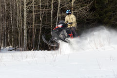 Athletes on a snowmobile. Royalty Free Stock Photos