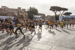 Athletes at the start of the Rome marathon in 2016 Stock Photo